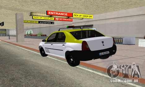 Dacia Logan Taxi para GTA San Andreas traseira esquerda vista