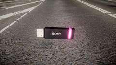 A unidade flash USB da Sony roxo