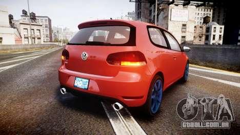 Volkswagen Golf Mk6 GTI rims3 para GTA 4 traseira esquerda vista
