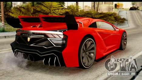 GTA 5 Pegassi Zentorno v2 IVF para GTA San Andreas esquerda vista