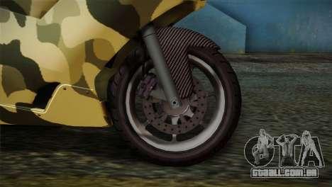 GTA 5 Bati Green para GTA San Andreas traseira esquerda vista