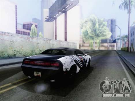 Dodge Challenger SRT8 Hemi Drag Tuning para GTA San Andreas traseira esquerda vista