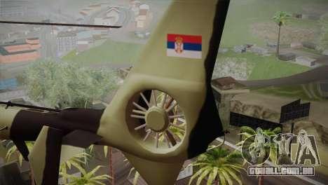 SA 342 Serbian Police Gazelle CAMO para GTA San Andreas traseira esquerda vista
