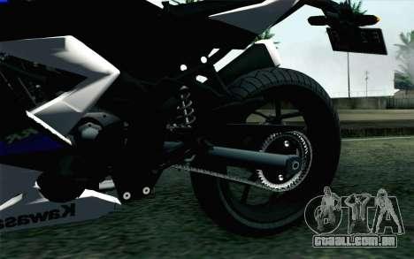 Kawasaki Ninja 250RR Mono White para GTA San Andreas traseira esquerda vista