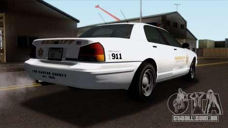 GTA 5 Vapid Stanier Sheriff SA Style para GTA San Andreas esquerda vista