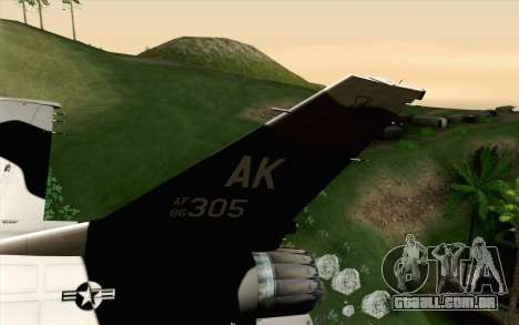 F-16C Fighting Falcon Aggressor Alaska BlackGrey para GTA San Andreas traseira esquerda vista