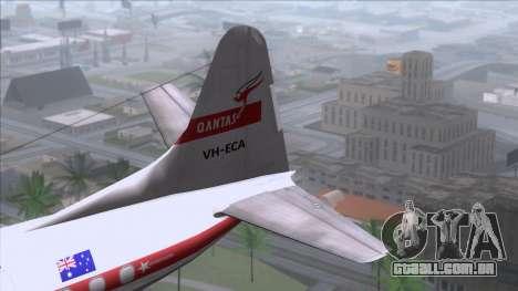 L-188 Electra Qantas para GTA San Andreas traseira esquerda vista