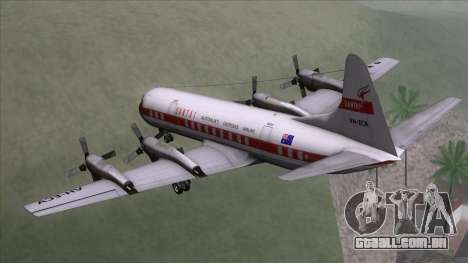 L-188 Electra Qantas para GTA San Andreas esquerda vista