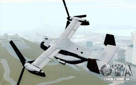 MV-22 Osprey VMM-265 Dragons para GTA San Andreas esquerda vista