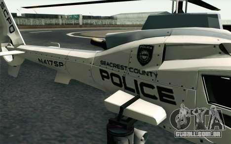 NFS HP 2010 Police Helicopter LVL 1 para GTA San Andreas vista traseira