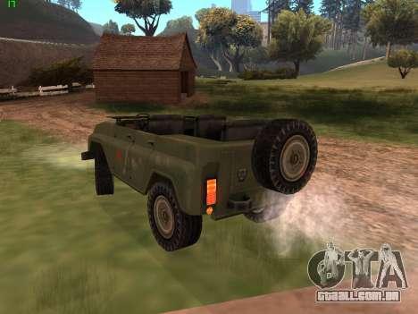 UAZ militar para GTA San Andreas traseira esquerda vista