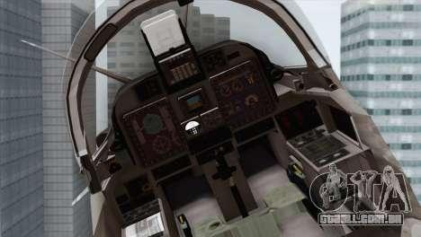Embraer A-29B Super Tucano Navy White para GTA San Andreas vista traseira