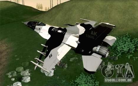 F-16C Fighting Falcon Aggressor Alaska BlackGrey para GTA San Andreas esquerda vista