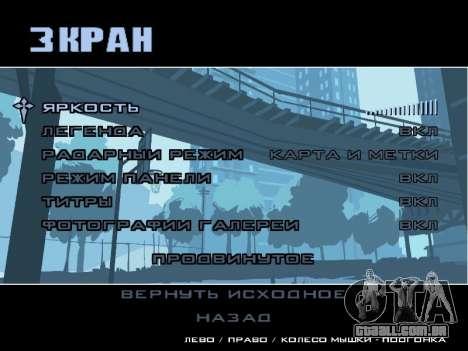 Menu HD para GTA San Andreas sexta tela