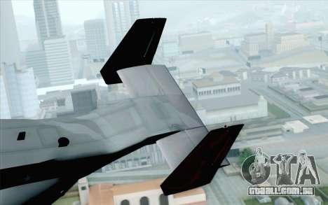 MV-22 Osprey VMM-265 Dragons para GTA San Andreas traseira esquerda vista