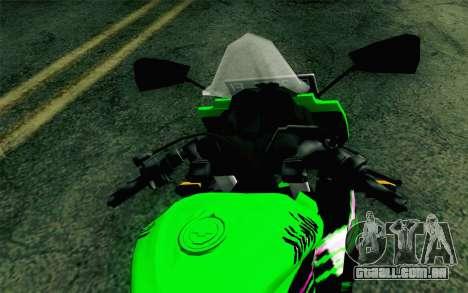 Kawasaki Ninja 250RR Mono Green para GTA San Andreas vista direita