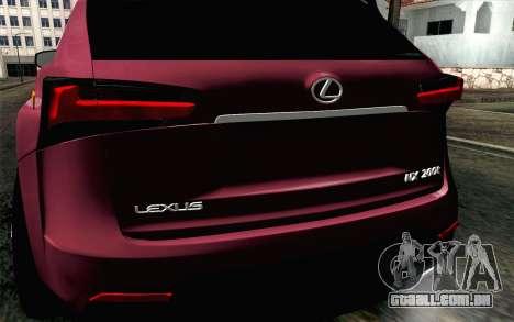 Lexus NX 200T v3 para GTA San Andreas vista traseira