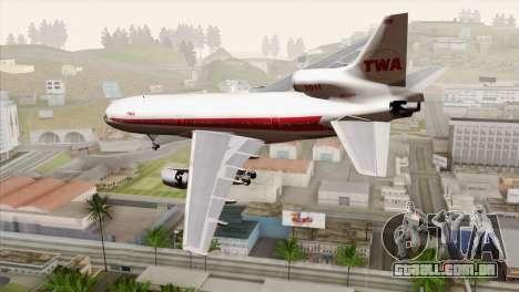 Lookheed L-1011 TWA para GTA San Andreas esquerda vista