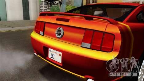 Ford Mustang GT PJ para GTA San Andreas vista traseira