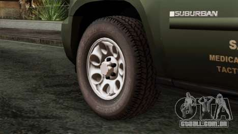 Chevrolet Suburban National Guard MedEvac para GTA San Andreas traseira esquerda vista