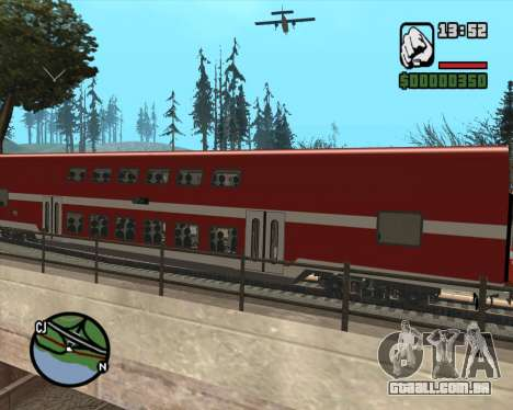 Israeli Train Double Deck Coach para GTA San Andreas traseira esquerda vista