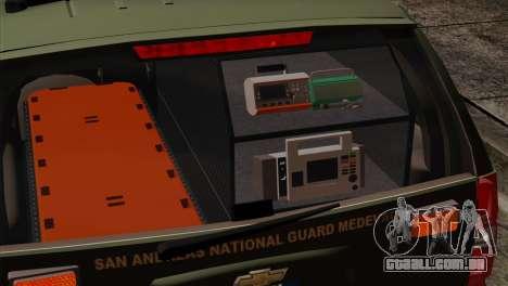 Chevrolet Suburban National Guard MedEvac para GTA San Andreas vista traseira