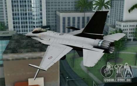 F-16 Fighting Falcon RNoAF para GTA San Andreas esquerda vista