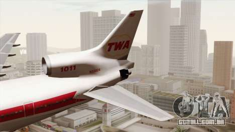 Lookheed L-1011 TWA para GTA San Andreas traseira esquerda vista