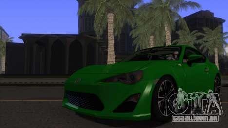 Scion FR-S 2013 Stock v2.0 para vista lateral GTA San Andreas