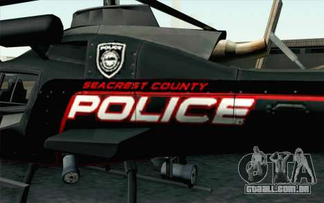 NFS HP 2010 Police Helicopter LVL 3 para GTA San Andreas vista direita