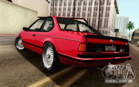BMW M635CSI E24 1986 V1.0 para GTA San Andreas esquerda vista