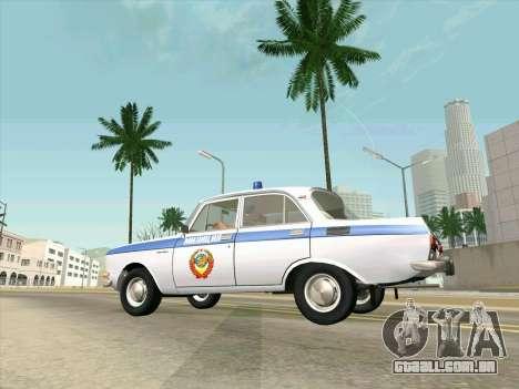 Moskvich 2140 Polícia para GTA San Andreas vista traseira