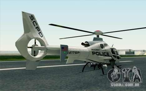 NFS HP 2010 Police Helicopter LVL 1 para GTA San Andreas esquerda vista