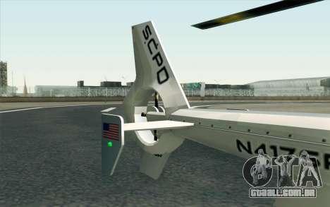 NFS HP 2010 Police Helicopter LVL 1 para GTA San Andreas vista direita