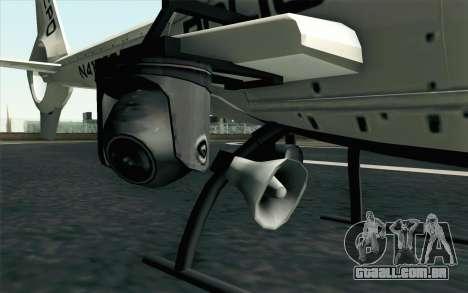 NFS HP 2010 Police Helicopter LVL 1 para GTA San Andreas traseira esquerda vista