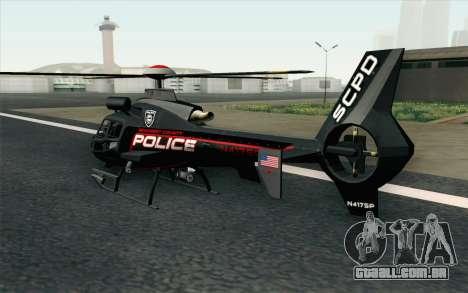 NFS HP 2010 Police Helicopter LVL 3 para GTA San Andreas esquerda vista