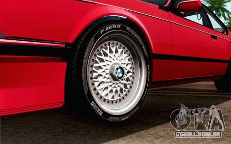 BMW M635CSI E24 1986 V1.0 para GTA San Andreas traseira esquerda vista