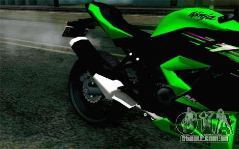 Kawasaki Ninja 250RR Mono Green para GTA San Andreas vista traseira