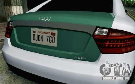 GTA 5 Obey Tailgater v2 IVF para GTA San Andreas vista traseira