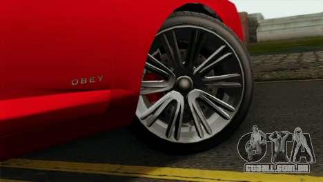 GTA 5 Obey Tailgater para GTA San Andreas traseira esquerda vista