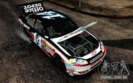 NASCAR Chevrolet Impala 2012 Plate Track para GTA San Andreas vista traseira