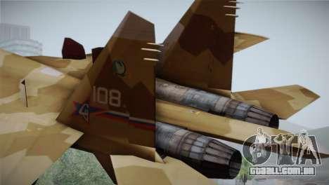 SU-27 Warwolf Squadron para GTA San Andreas traseira esquerda vista