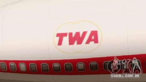 Lookheed L-1011 TWA para GTA San Andreas vista traseira