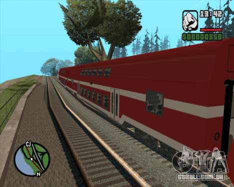 Israeli Train Double Deck Coach para GTA San Andreas esquerda vista