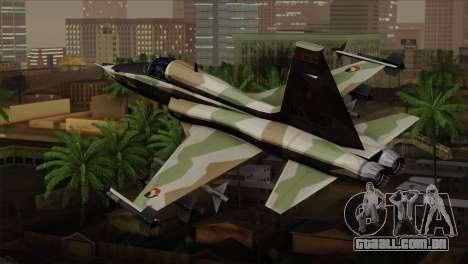Northrop F-5 Estovakian Air Force para GTA San Andreas esquerda vista