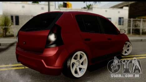 Dacia Sandero Low Tuning para GTA San Andreas esquerda vista