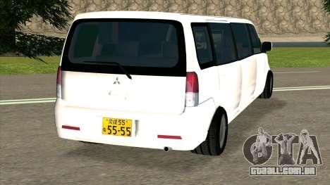 Mitsubishi EK Wagon Limo para GTA San Andreas traseira esquerda vista