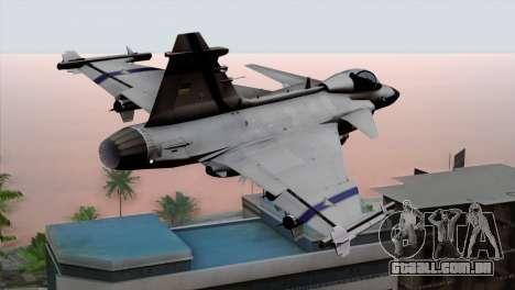 Saab 39 Gripen Custom Indigo Squadron para GTA San Andreas esquerda vista