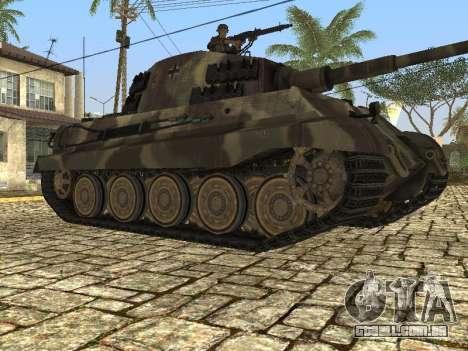 Panzerkampfwagen Tiger II para GTA San Andreas traseira esquerda vista