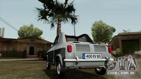 Vespa 400 para GTA San Andreas traseira esquerda vista
